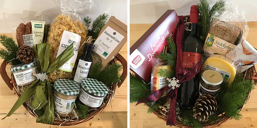 Präsentkörbe/Geschenkkörbe mit hochwertigen Bio-Lebensmitteln